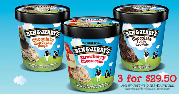 Yay! 3 Pints of Ben & Jerry's ice-cream under $30 at Cheers & FairPrice Xpress this week