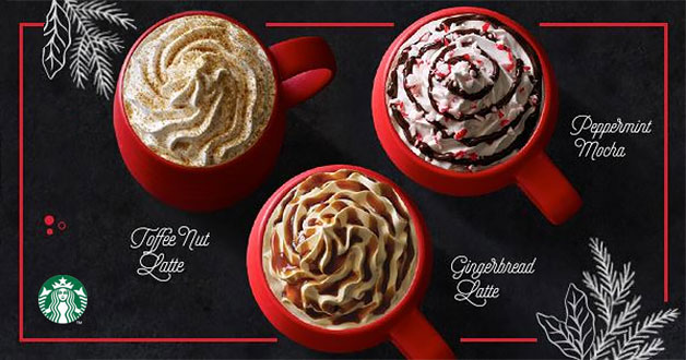 Starbucks Christmas Festive Drinks returns early – Toffee Nut, Gingerbread Latte & Peppermint Mocha