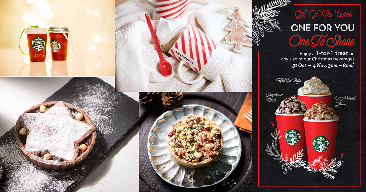 Starbucks new Christmas Pies & Cakes, 1-for-1 Drinks and Festive Merchandise