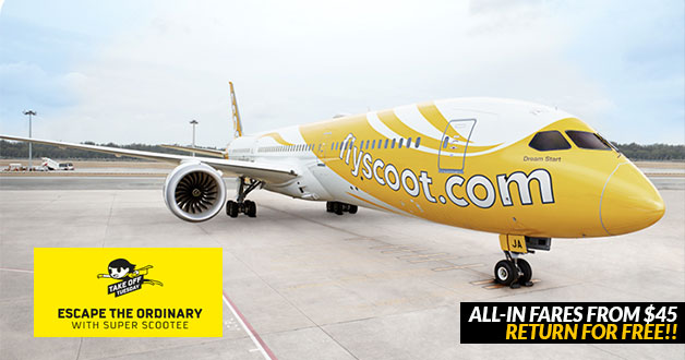 Scoot 'Take Off Tuesday' All-In Fares from $45 lets you return for free