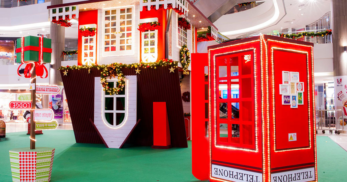 There's a Upside Down Christmas House in Compass One shopping mall