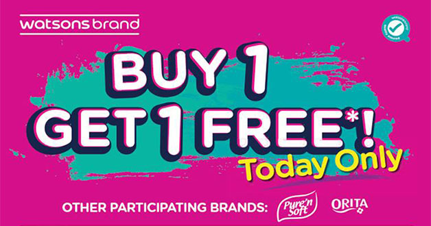 Stock up today with Watsons Buy 1 Get 1 Free one-day sale on January 18