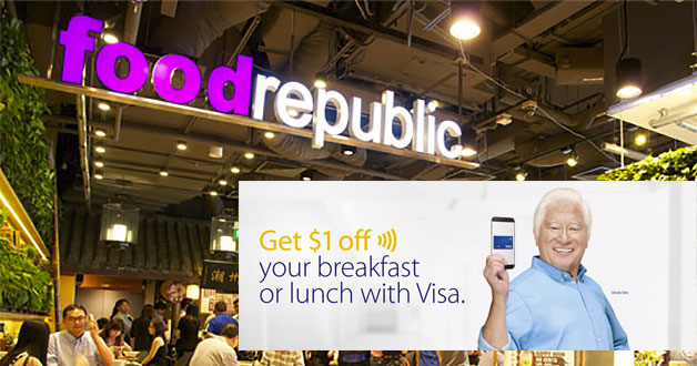Your breakfast & lunch at Food Republic is now $1 cheaper with Visa payWave or on mobile