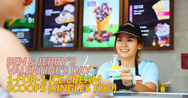 Ben & Jerry's is giving 1-for-1 ice cream scoops because #ValentinesDay is here