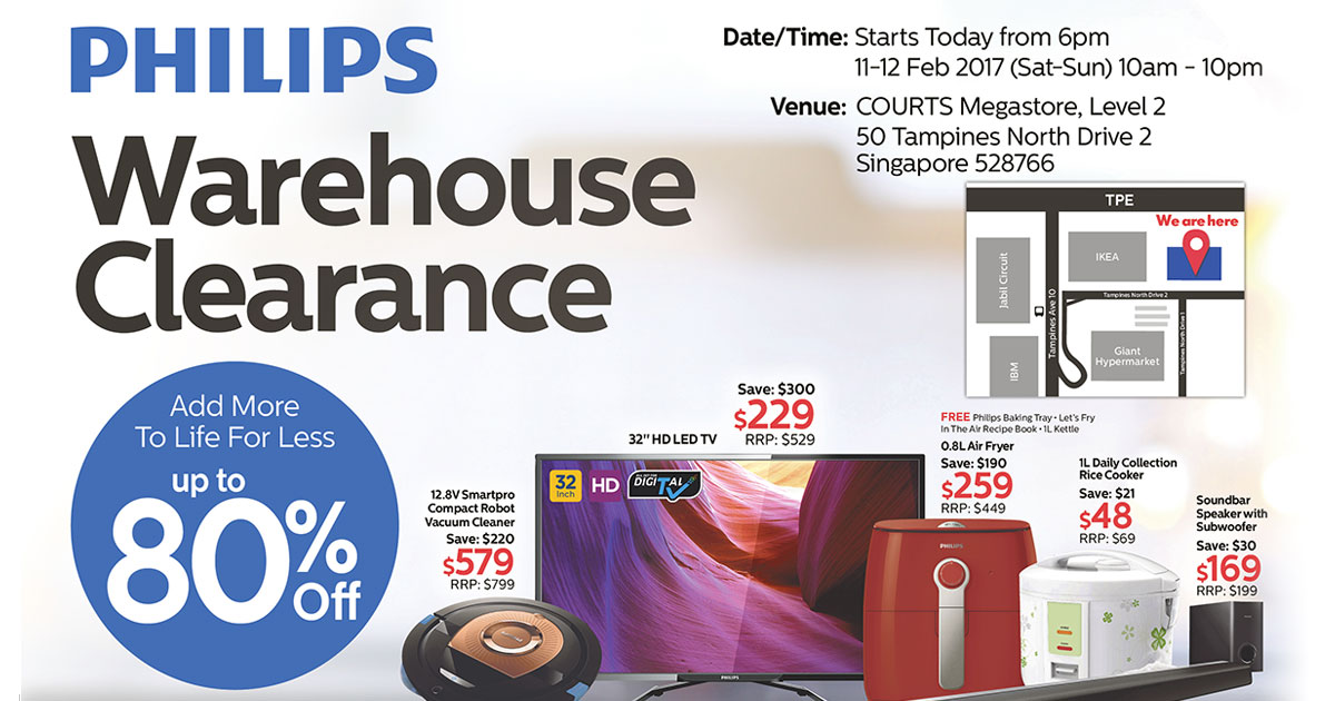 There's a Philips Warehouse Clearance Sale at Courts Megastore Tampines this weekend