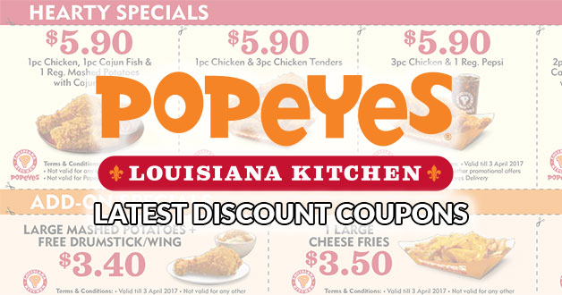 Here are Popeyes Singapore latest discount coupons fresh from the oven (till April 3)