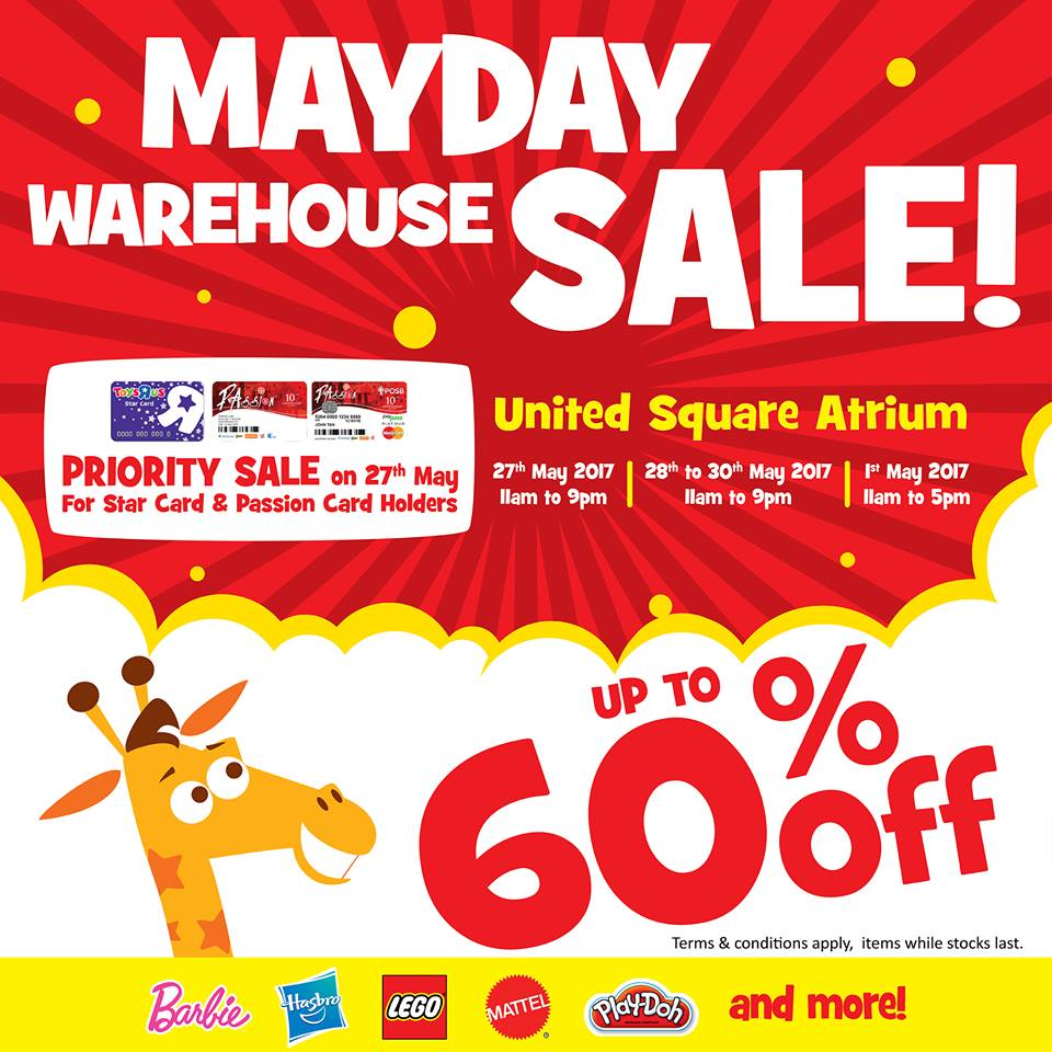 "There's a huge Toys ""R"" Us MAYDAY Warehouse Sale going on at United Square Atrium this weekend"