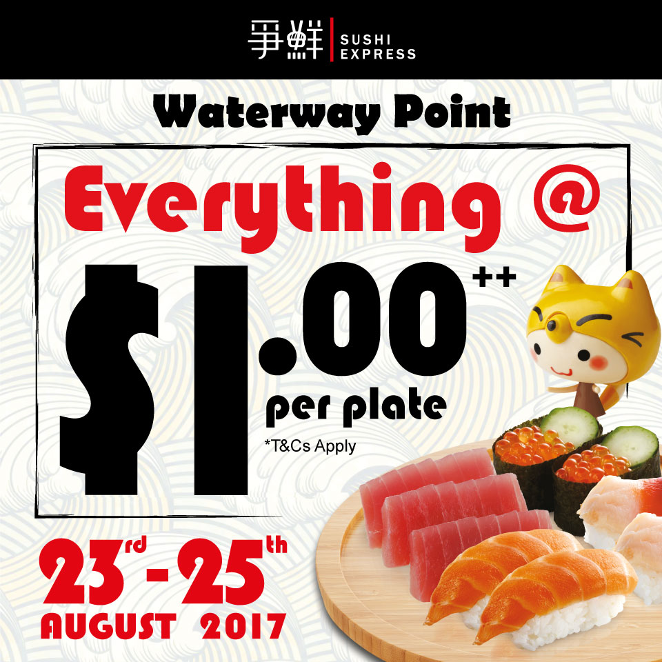 Sushi Express opens new outlet at Waterway Point, offers $1 plates for 3 days this week