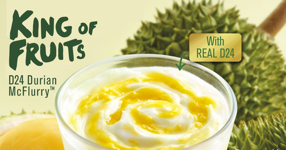 OMG! D24 Durian McFlurry (with real durian pulp) now available in McDonald's Malaysia