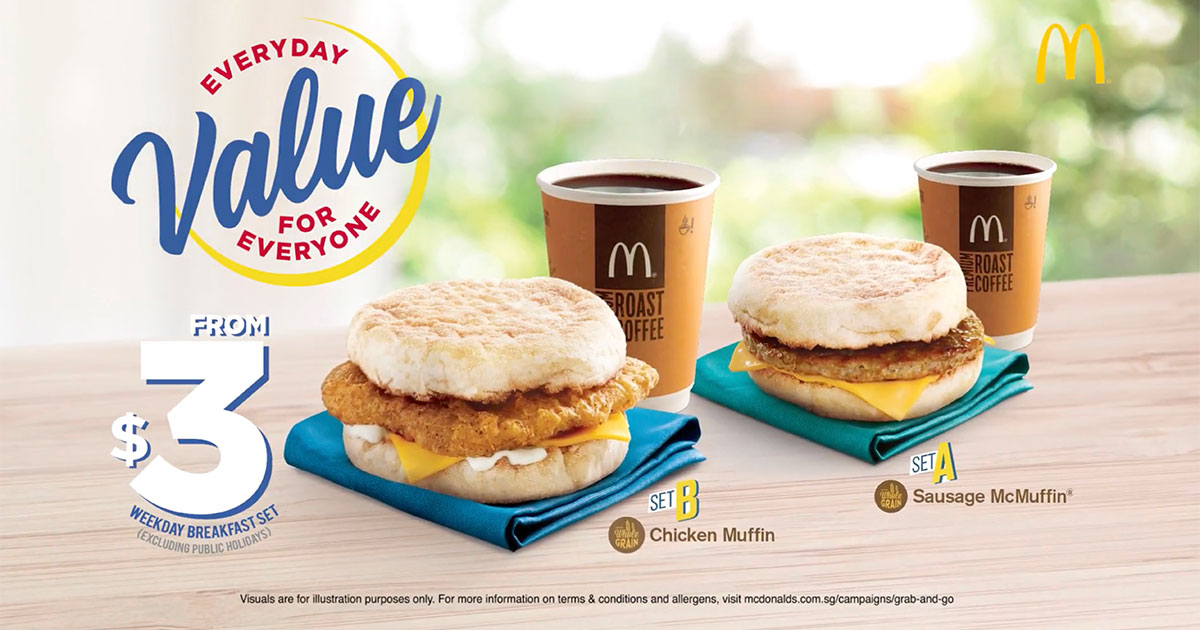 Wake up to McDonald's $3 Grab & Go' McMuffin + Coffee/Tea weekday breakfast promotion
