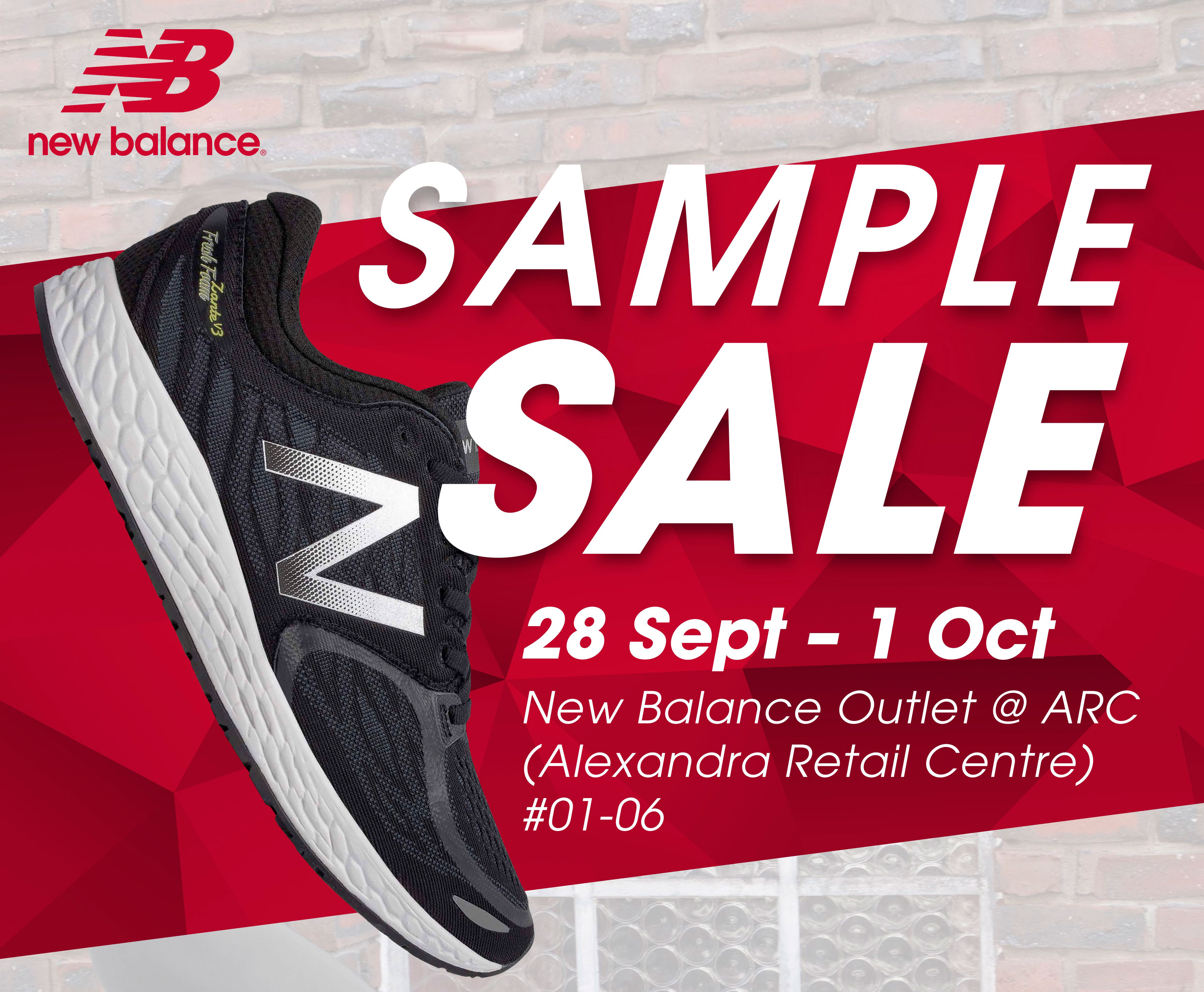 New Balance Sample Sale @ ARC: $50 Footwear & Apparels from $12.50 (28 Sept – 1 Oct)