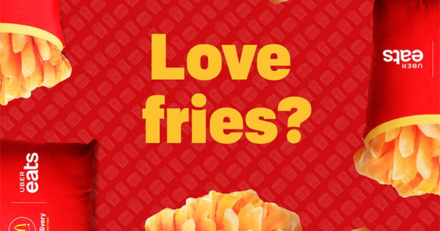 Receive an upsized Fries Cushion when you order from McDelivery app or website