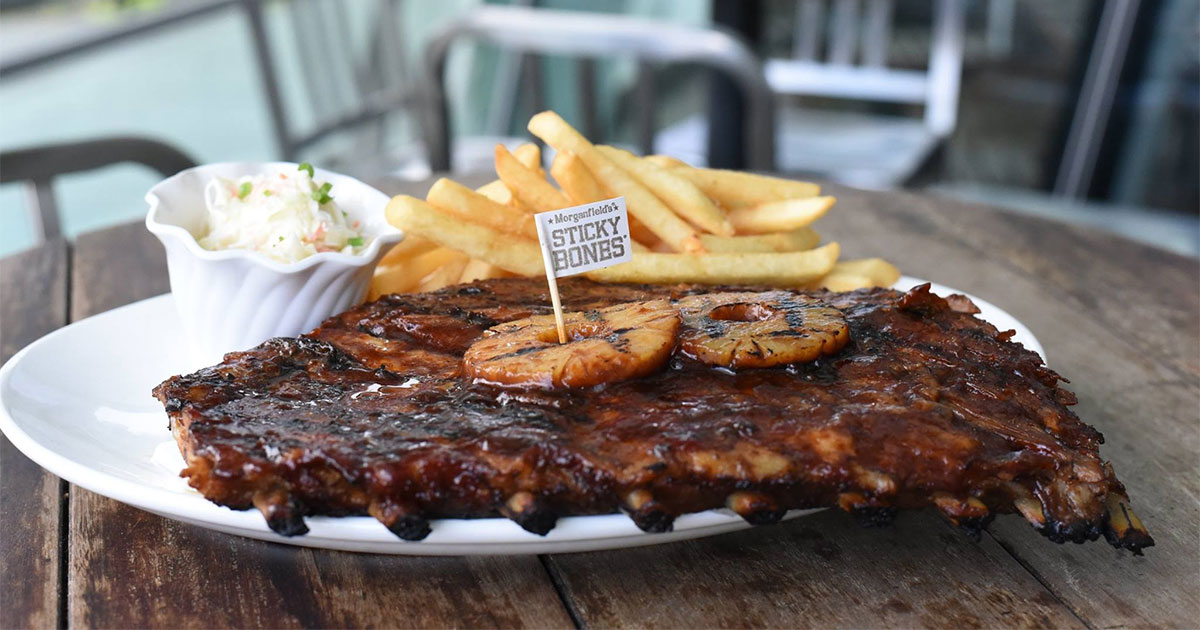 Enjoy 1-for-1 Half Slab Sticky Bones at Morganfield's if you are a Singtel customer