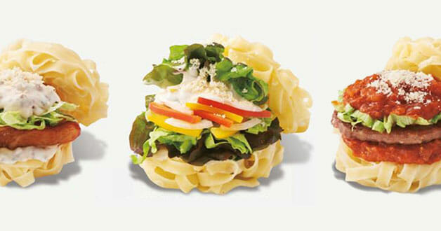 Believe it or not, MOS Burger made some 'Pasta Burgers' but it's only available at two outlets