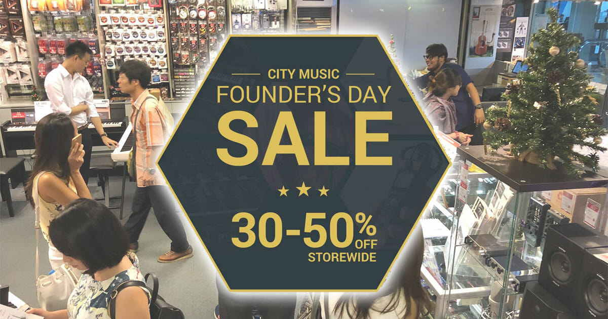 For the first time, City Music is offering fixed 30 – 50% discounts storewide in their Founder's Day Sale