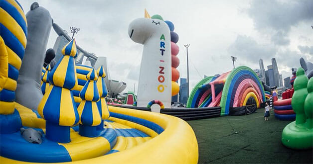 Check out this crazy fun Art-Zoo Inflatable Park occupying the Marina Bay floating platform