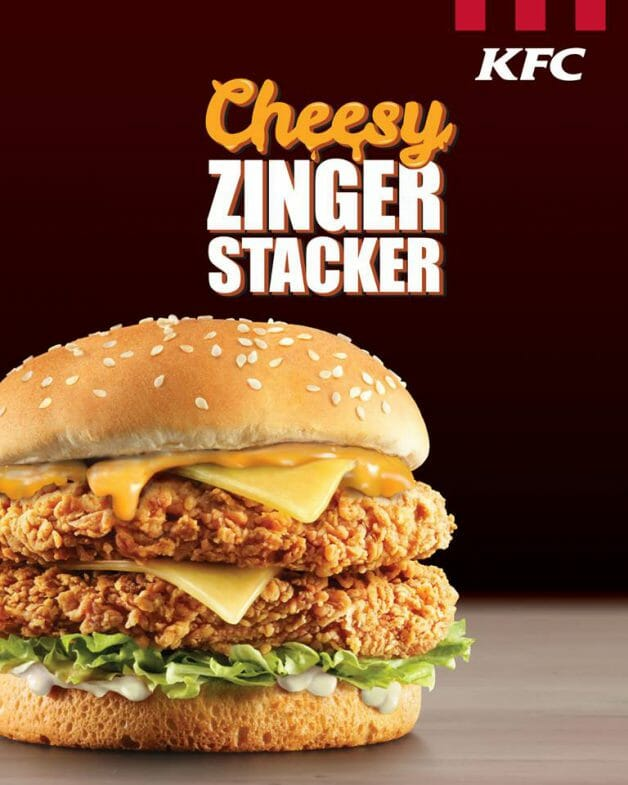 Kfc New Cheesy Zinger Stacker Comes With 2 Zinger Fillets 2 Cheese