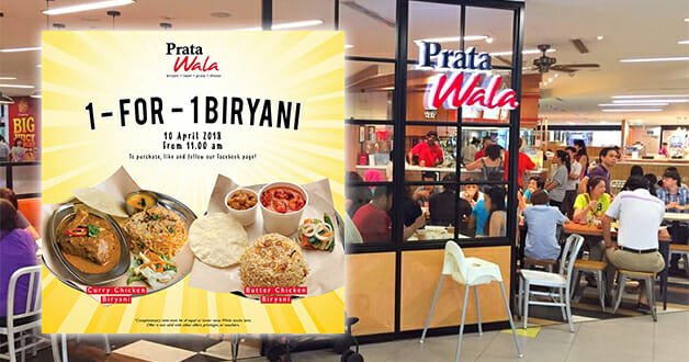 Prata Wala to offer 1-for-1 Curry or Butter Chicken Biryani on April 10 from 11am onwards