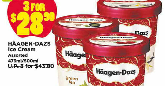 Confirm must buy! Haagen-Dazs ice cream x 3 for only $28.90 at Giant Supermarkets this weekend