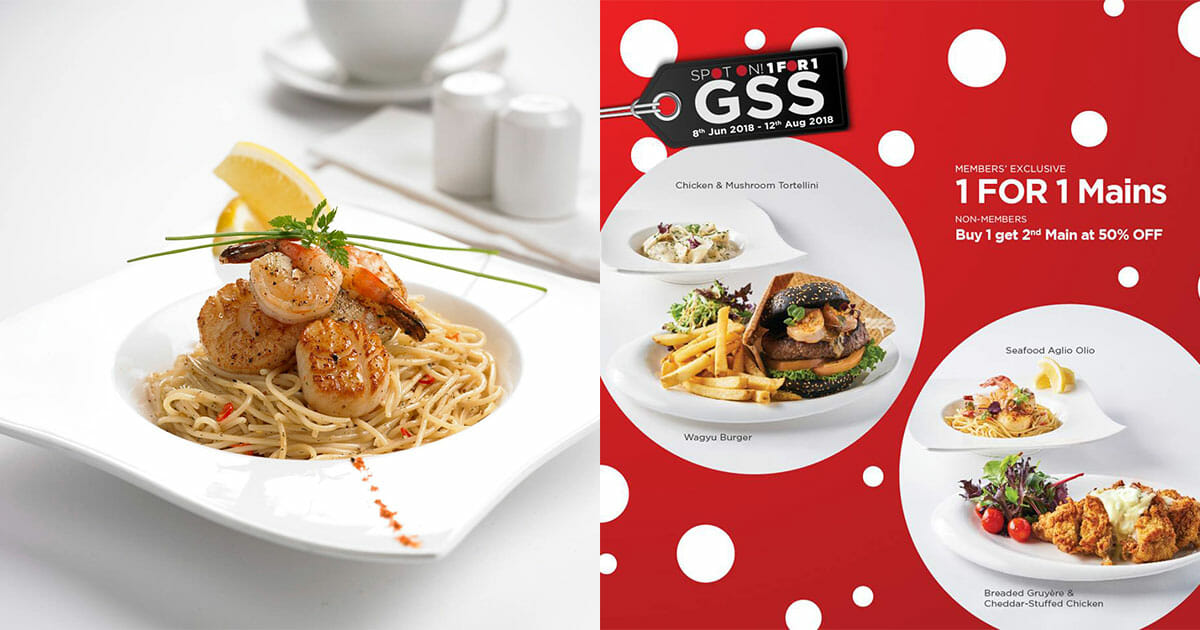 TCC is offering 1-for-1 on all mains this GSS, including their signature Seafood Aglio Olio