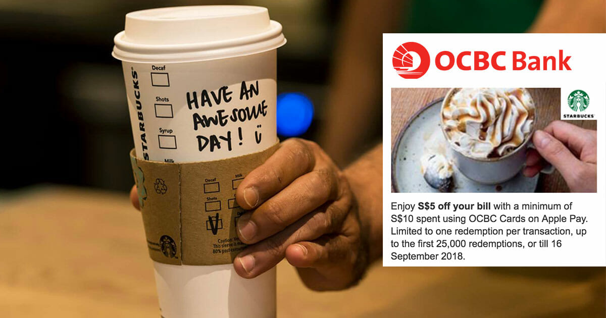 Got OCBC cards? Use it on Apple Pay to enjoy $5 off at Starbucks from now till September 16