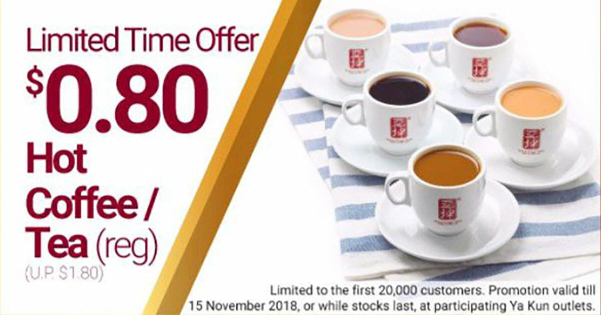 Pay only 80c for your next Hot Coffee or Tea at Ya Kun with this mobile app offer