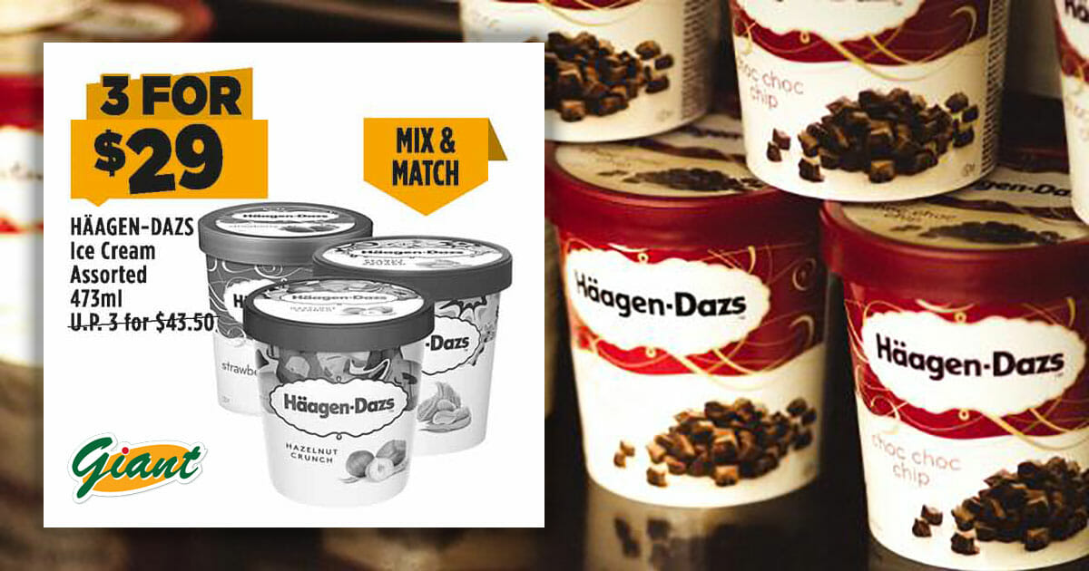 Mix & match 3 tubs of Haagen-Dazs ice cream for only $29 in Giant 'Dare to Compare' Deals this week