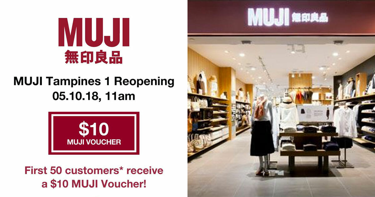 Free $10 vouchers and 3 days of deals as Muji Tampines 1 reopens on October 5