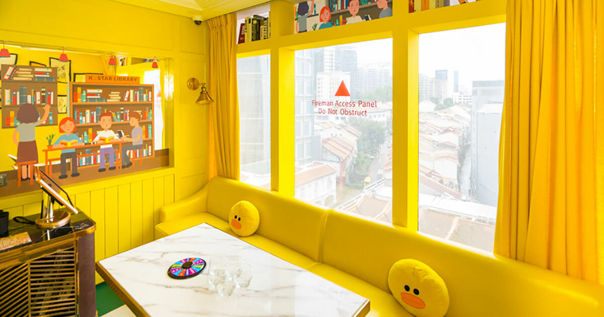 K.Star is Singapore's first Karaoke bar with 25 colourful themed rooms