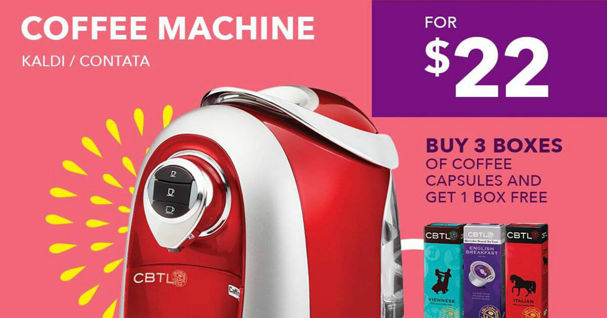 Coffee Bean 22nd Anniversary Crazy Deal: CBTL Coffee Machine for only $22