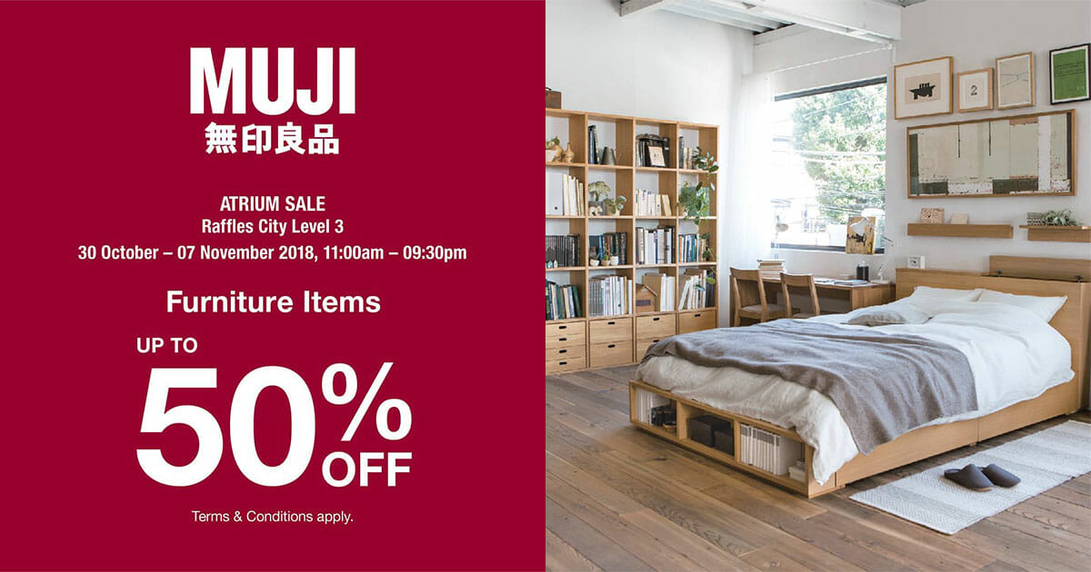 There's a MUJI Atrium Sale on furniture items up to 50% off at Raffles City till November 7