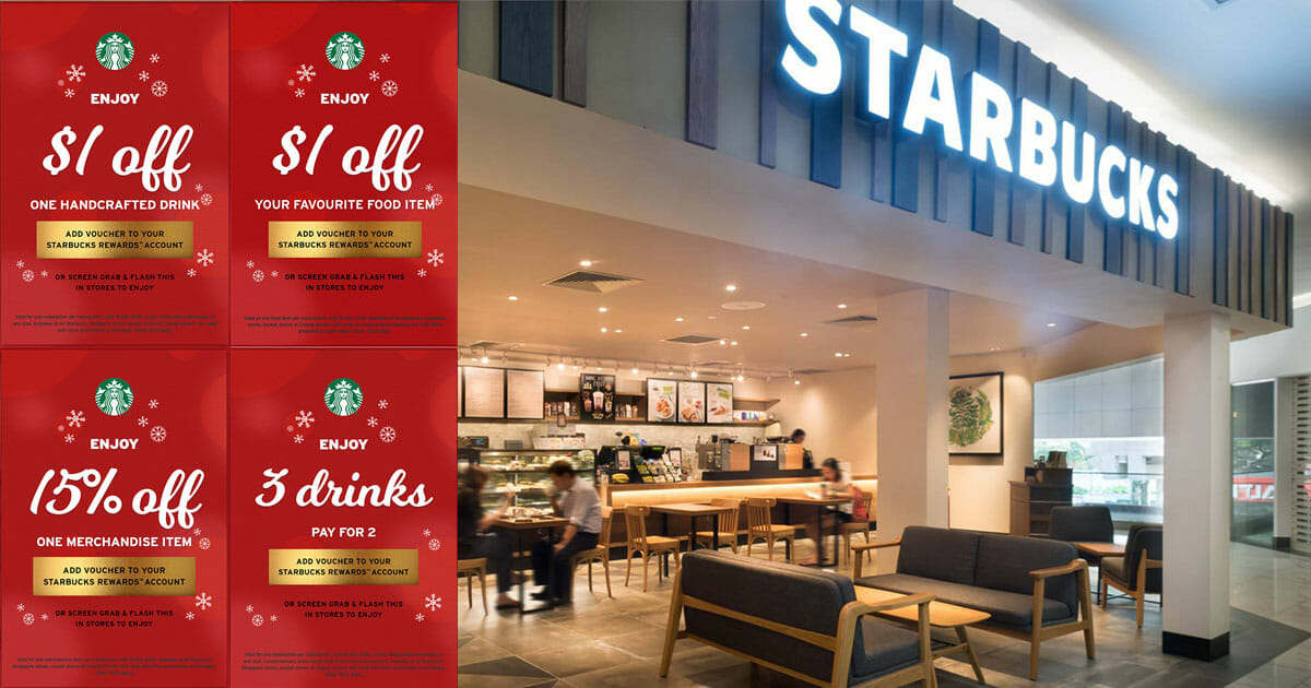 4 Starbucks Xmas Coupons you can use to redeem Buy 2 Get 1 Free Drinks, 15% Off Merchandise & more valid till December 16