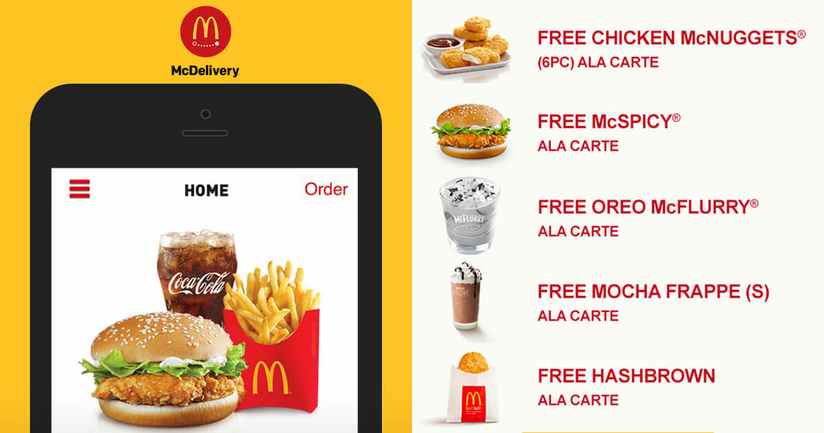 New McDelivery Coupon/Promo Codes to redeem free McSpicy, McNuggets, Large Fries & more till January 2