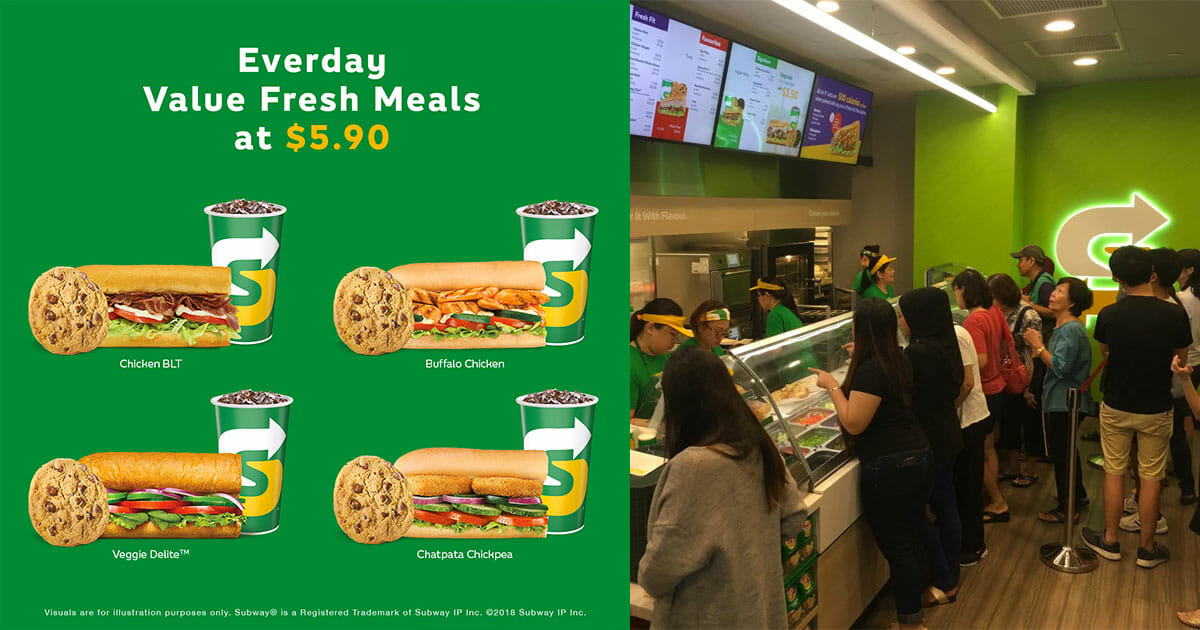 Subway $5.90 Combo Meals are back. Choose from Chicken BLT, Veggie Delite, Buffalo Chicken & Chatpata Chickpea subs