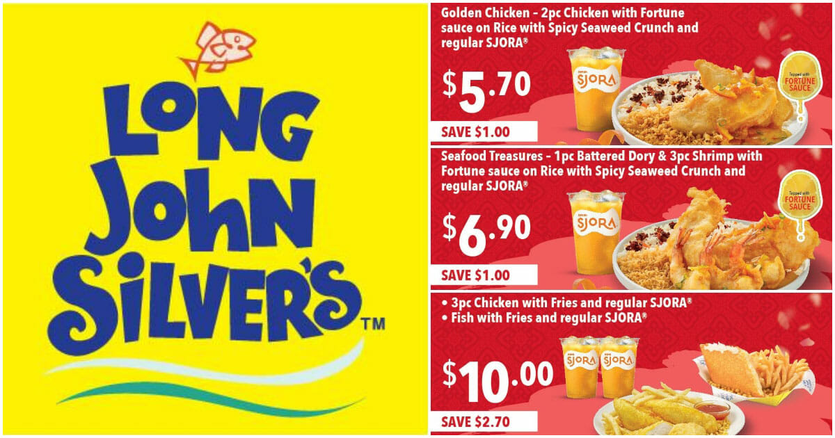 Here are the latest Long John Silver's Discount Coupons you can use on new CNY seafood dishes till February 24