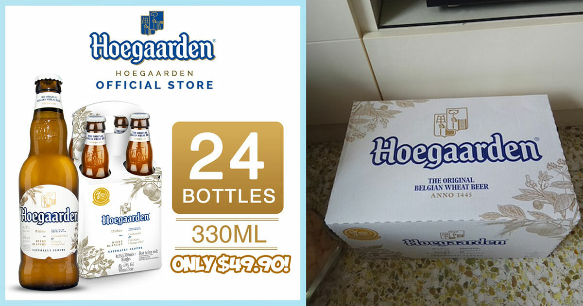 Hoegaarden Official Store on Qoo10 now selling 24-bottle carton for only $49.90 with free shipping