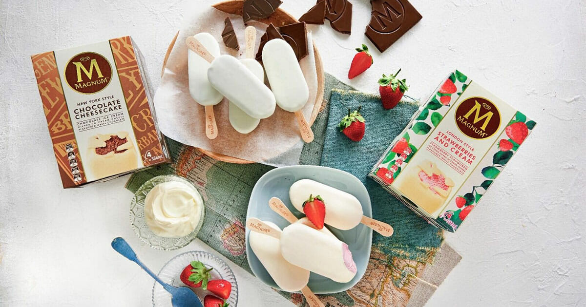 Magnum launches new Strawberries & Cream and Chocolate Cheesecake limited edition ice cream flavours