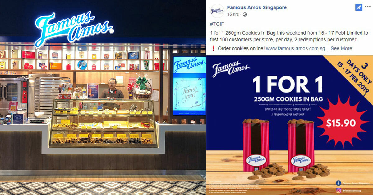 Famous Amos offers 1-for-1 Cookies in Bag to the first 100 customers daily  from February 15 – 17 5b4d8c7f4