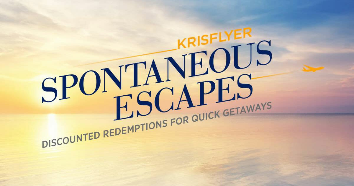 Singapore Airlines 'KrisFlyer Spontaneous Escapes' offers 50% discounted miles when you redeem before February 28