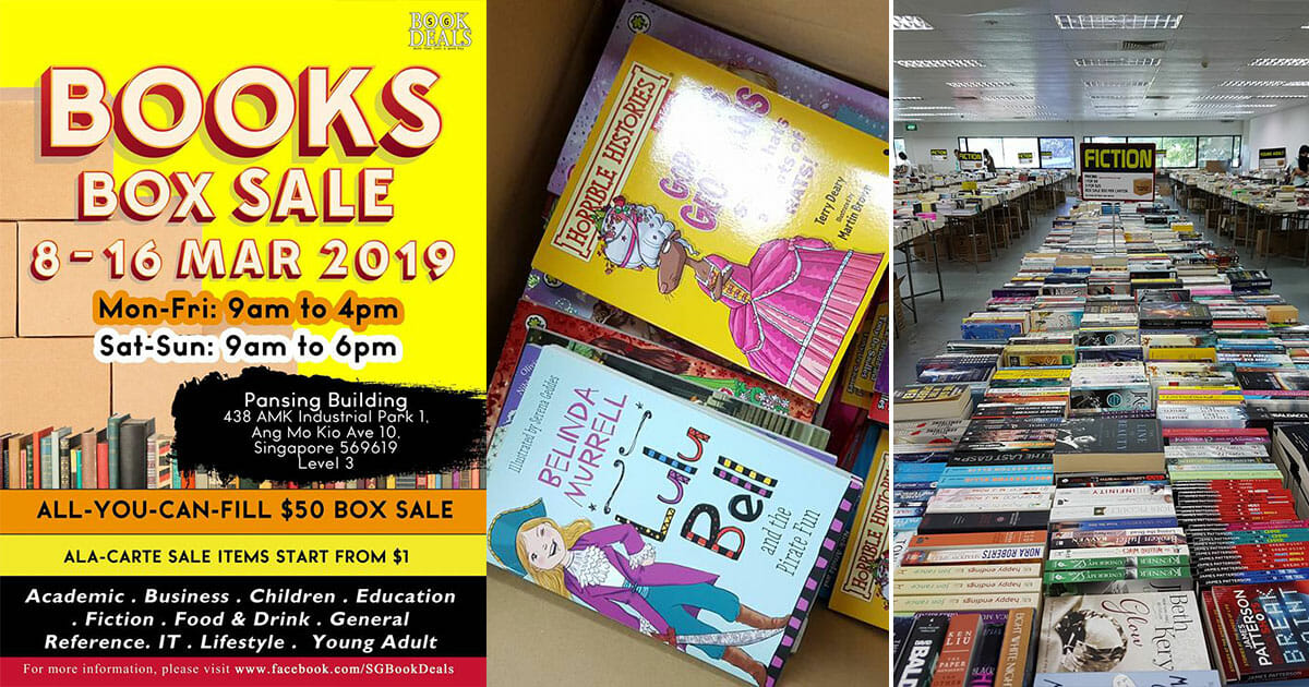 The all-you-can-fill $50 Books Box Sale is back at AMK Industrial Park from March 8 – 16