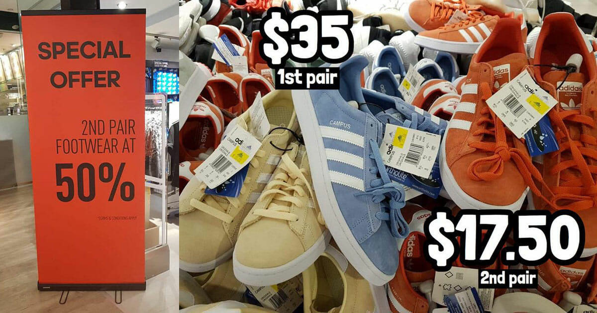 Adidas shoes going as cheap as $17.50 a pair at Velocity @ Novena and Chinatown Point outlets