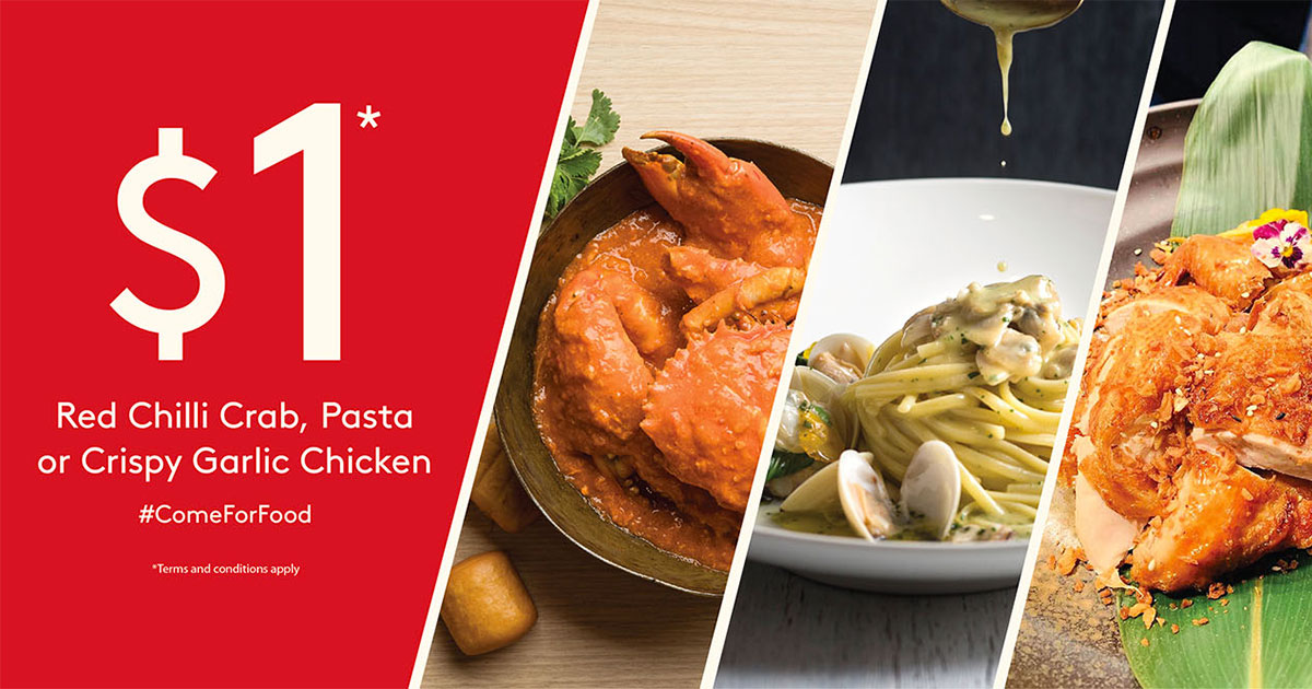 RWS Dining Deals: Pay only $1 for Red Chilli Crab, Pasta or Crispy Garlic Chicken from now till April 30
