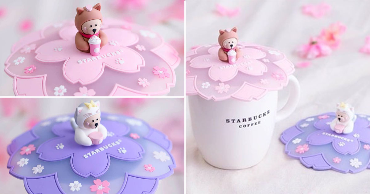 Starbucks S'pore ultra-adorable Sakura Bearista Cup Lid now available in stores at $18 each