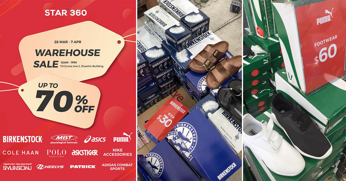 Star 360 Warehouse Sale in Eunos will have Birkenstock, Asics & PUMA shoes at discounts up to 70% from Mar 28