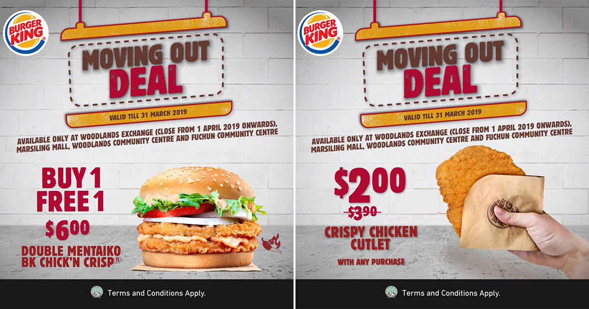BK Woodlands MRT is closing so here are 2 Moving Out Deals including a 1-for-1 Double Mentaiko Chicken Burger