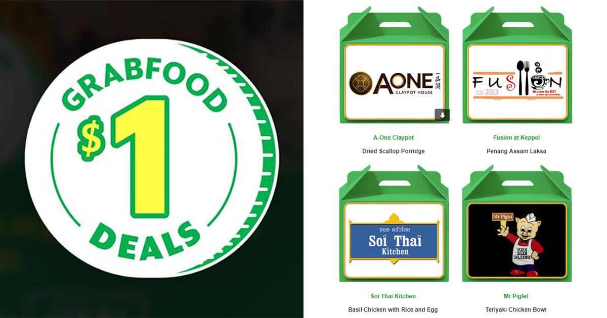 GrabFood $1 Deals Promo Codes till April 14: A-One Porridge, Soi Thai Basil Chicken Rice, Mr Piglet Teriyaki Chicken Bowl & more