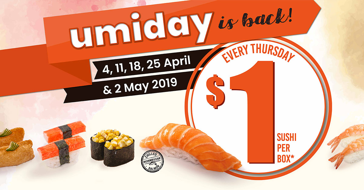 Umisushi to offer $1 per sushi box every Thursday this April because #umiday is back