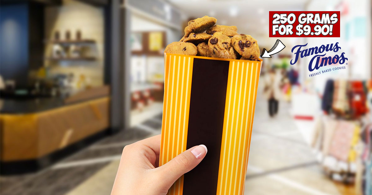 Famous Amos selling 250g Cookies in a Bag for only S$9.90 from now till April 21