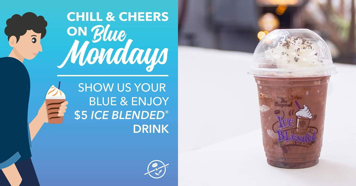 Enjoy $5 Ice Blended Drink at Coffee Bean on Mondays when you flash your 'Blues' at the store