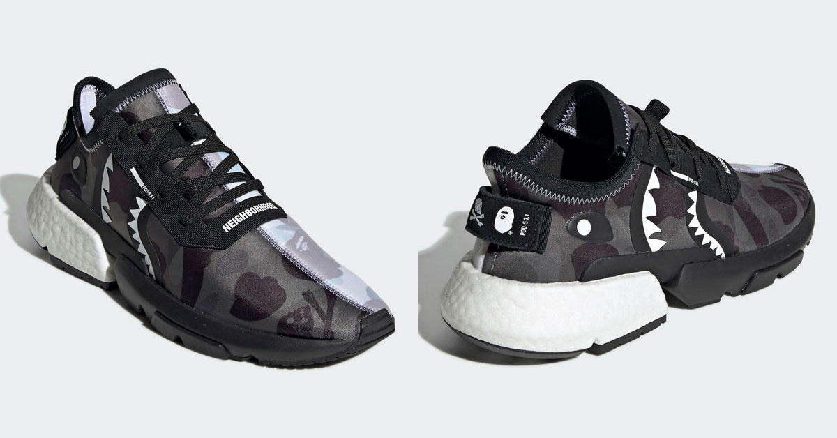 low priced 74e54 7a570 Adidas x BAPE sneakers featuring a 'Shark Face' will be ...